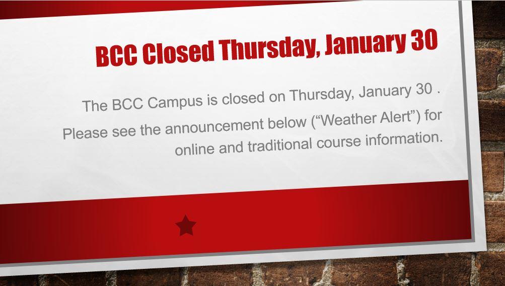 Campus closure - January 30