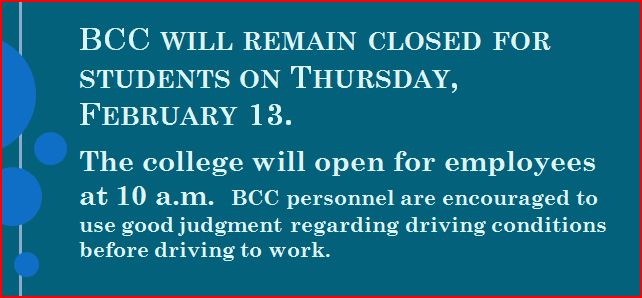 feb 13 - students closed; employees repoort 10 a,m.