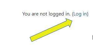 arrow indicating login button in upper right corner